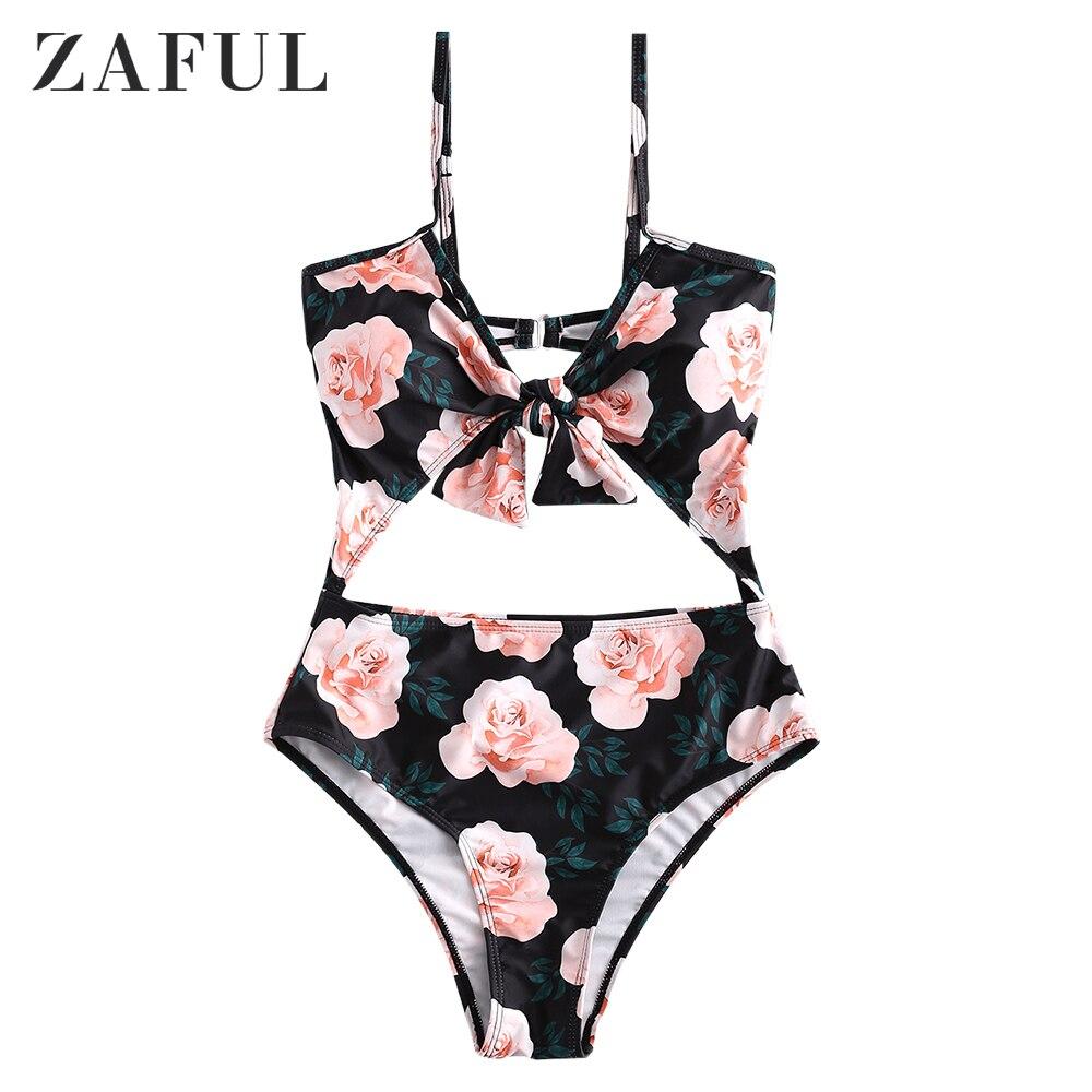 ZAFUL maillot de bain imprimé Floral femmes grande taille une pièce maillots de bain noir Sexy plage Bikini string taille haute creux dos nu Biquini