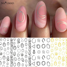 Gold Silver Circle Nail Stickers Hollow Geometry Line 3D Nail Art Sticker Adhesive Slider Sticker Star Moon Decals(China)