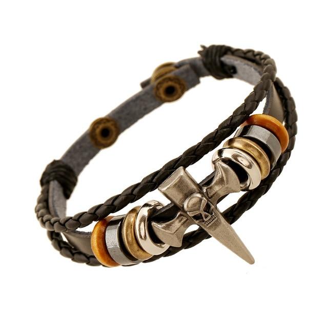 Bracelet tête de mort pic squelette croix Viking  1