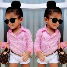2016 Regular Polyester Full Girls Striped Minnie Mouse New Baby Kids Girl Two-piece Cute Stripe Shirt And Shorts Outfits Set