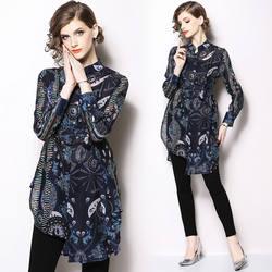 2018 Осень шифон Длинные рукава галстук-бабочка до длинная рубашка блузка печати винтажные Дизайнерские Длинные рукава