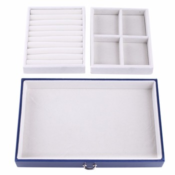 Blue Large Jewellery Storage Box W Key PU Leather Jewellery Packaging Earings Boxes Bracelets 2