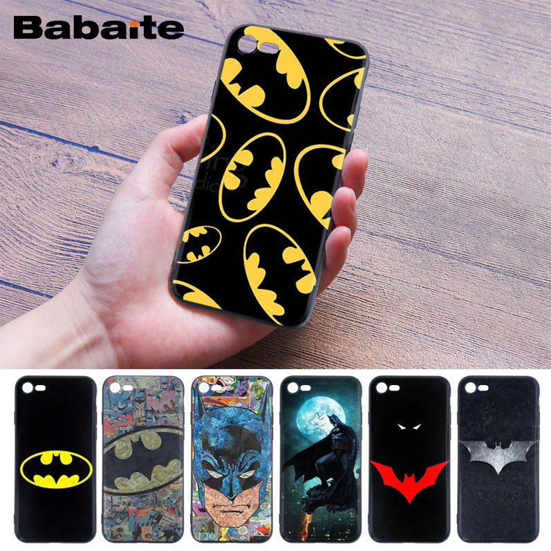 Babaite For iPhone 8 covers cases super hero Batman Soft Rubber black Phone Case for iPhone 5 5Sx 6 7 7plus 8 8Plus X XS MAX XR iPhone