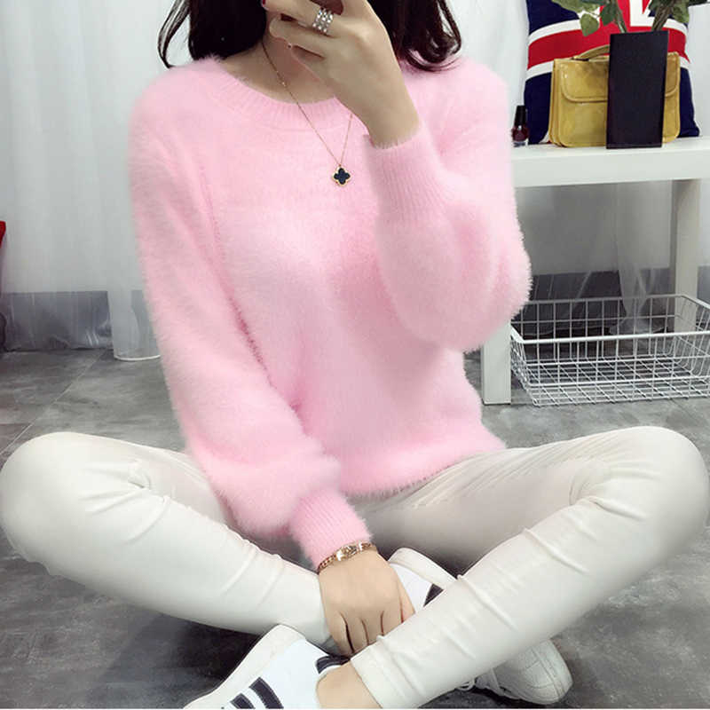 Fuzzy Sweater Fluffy Pull Femme Cashmere Christmas Sweater Korean Knitted Oversized Sweater Women Jumper Mohair Pullover 2019