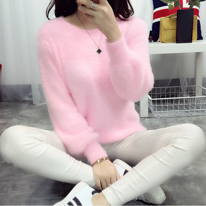 Pull Femme Christmas Sweater Blusas De Inverno Feminina 2017 Korean Knitted Oversized Sweater Women Jumper Mohair Pullover Pink