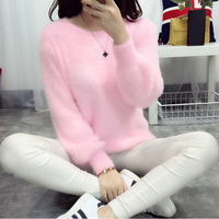 Pull Femme Christmas Sweater Blusas De Inverno Feminina 2017 Korean Knitted Oversized Sweater Women Jumper Mohair Pullover Pink
