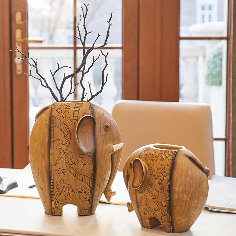 Carved Creative Gifts Resin A Pair Of Elephants Ornaments Home Decor Miniature Mascot Fairy Figurines Wedding Decor Crafts