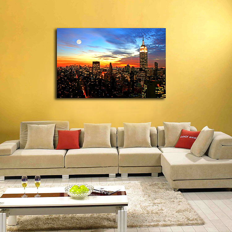 Sunset cityscape high rise building painting oil canvas print art wall picture for home living office decor in painting calligraphy from home garden on