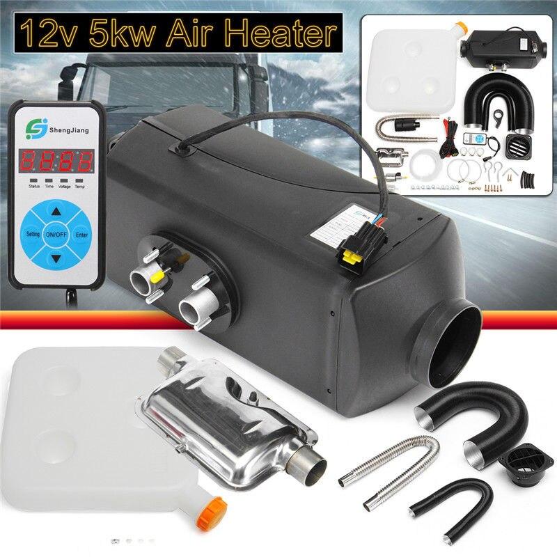 12V 5KW LCD Monitor Air Diesel Heater with Muffler Tank Motorhome RV Thermostat Caravan 5000W For Trucks Boat Car Trailer