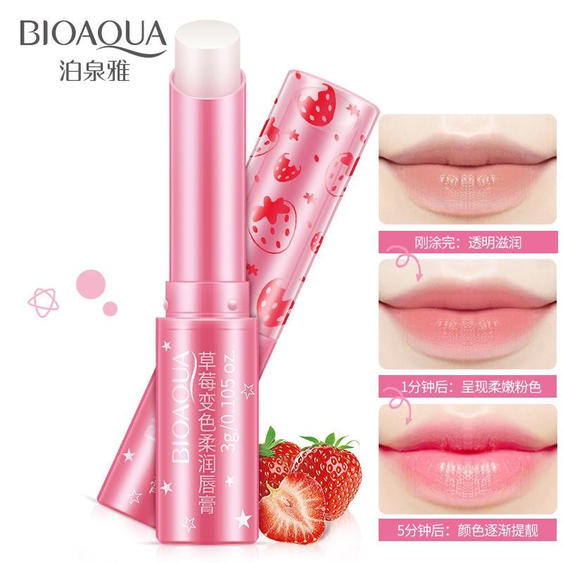 BIOAQUA Mudam de Cor de Morango Hidratante Lip Balm Lábios Batom Cor Dos Lábios Hidratante Firmador Cuidados Cosméticos Reduz