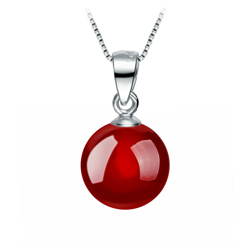 Korean Simple Style Red Garnet Black Agate Pendant Necklaces Round Natural Stone Necklace For Women Fine Jewelry Collares mujer