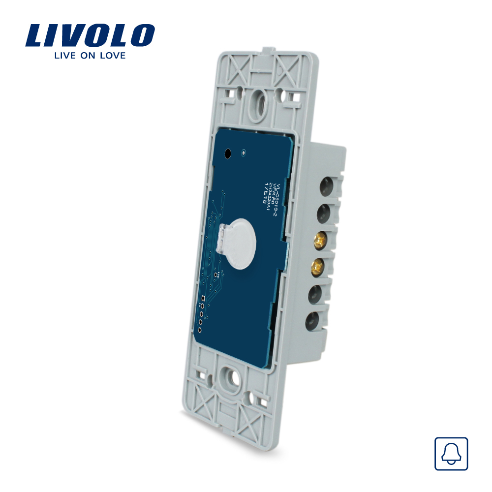 Livolo US Standard Base Of Touch Screen Wall Door Bell Switch, AC 110~250V, without glass panel, VL-C501B livolo us standard base of wall light touch screen switch 2gang 1way ac 110 250v without glass panel vl c502