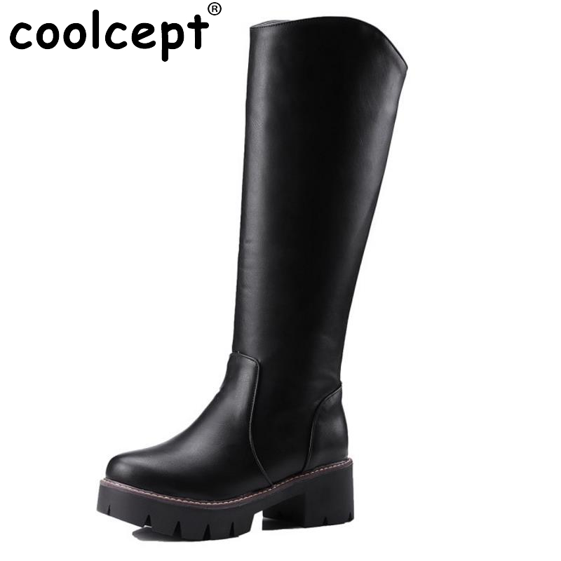 Fashion Women Motorcycle Boot Ladies Knee Thigh High Military Botas Platform Fur Shoes Woman Winter Bootines Mujer Size 34-43