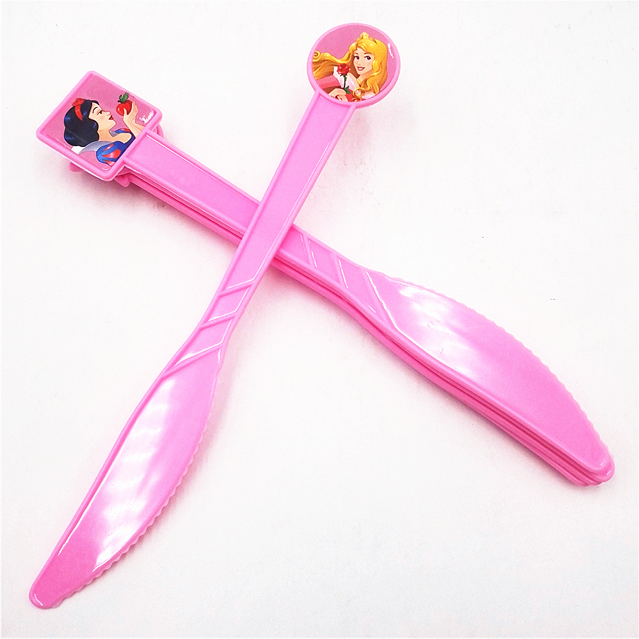 6pcs/set Six Princess Party Supplies Pink Knives Cartoon Party For Kids/Baby Favorite Birthday Decoration Theme Party