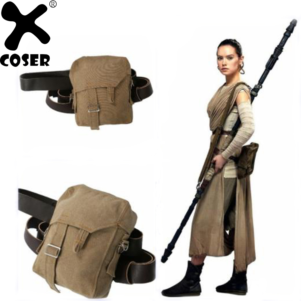 XCOSER Star Wars Rey Cosplay Bag with PU Leather Belt Brown Canvas Rey Sidebag The Force Awakens Cosplay Costume Accessories
