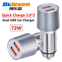 Bolesen Quick Automobile Charger Common Twin USB 72W auto Qualcomm QC3.Zero for Samsung AFC FCP Xiaomi iPhone 2.4A SFCP