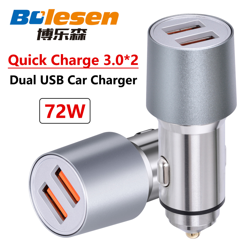 Bolesen Rapide Chargeur De Voiture Universel Double USB 72 w auto Qualcomm QC3.0 pour Samsung AFC PCF Xiaomi iPhone 2.4A PCTT