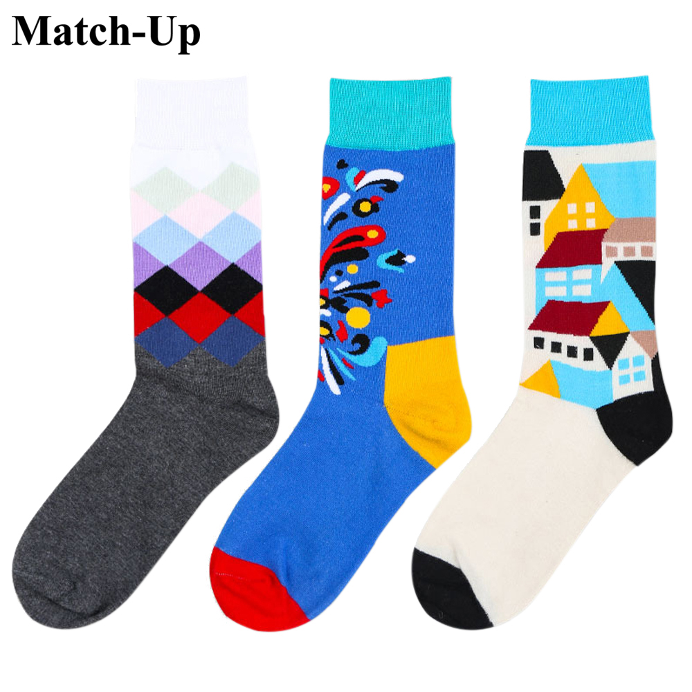 Match-Up NewCombed Cotton  Color Socks For Couple Harajuku Street Tide Casual Cotton Compression Mens Socks Us Size(5-9)