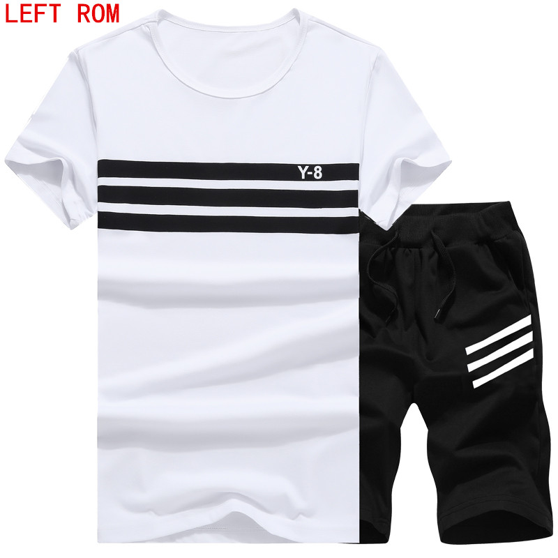 New Summer Men Set Sporting Suit Short Sleeve T shirt Two Piece Fitness Set Spring Sweatsuit Fashion Casual Tracksuit Men Solid