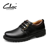 CLAX Men's Work Shoes 2017 Autumn Ankle Boot Male Genuine Leather Safety Shoe Casual Black Dress Shoe Leisure Footwear