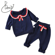 2019 New Cute Baby Girl Clothing Set Fashion Cotton Wear Long Sleeve Suit Kids Girl Folding lace 1-4Y Solid Pullover pants Sets(China)