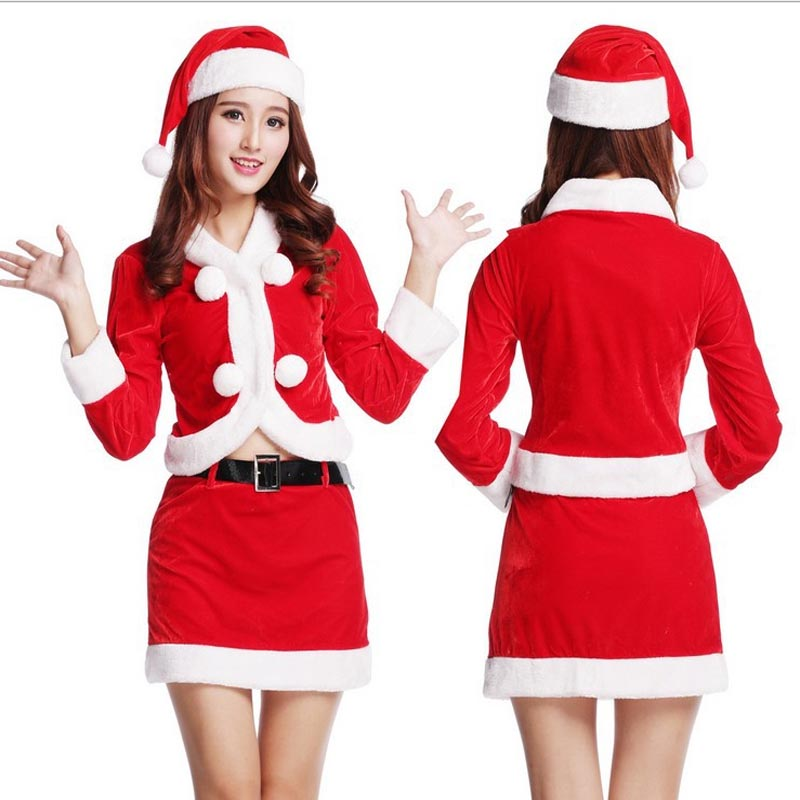 2016 New Women Red Santa Claus Cosplay Skirts Christmas Xmas Masquerade Dress For Female Girl Wome Christmas Cosplay Costumes