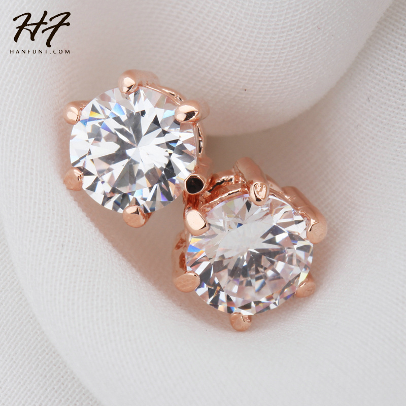 Six Claws 5mm 0.5ct CZ Crystal Rose Gold Color Stud Earrings Wedding Jewelry For Women E036 E035