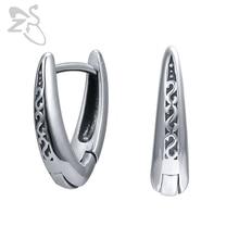 ZS 316L Stainless Steel Hoop Earrings Letter V Shape Punk Earring 2 Pcs Rock Roll Ear Piercing Jewelry Hiphop for Boys