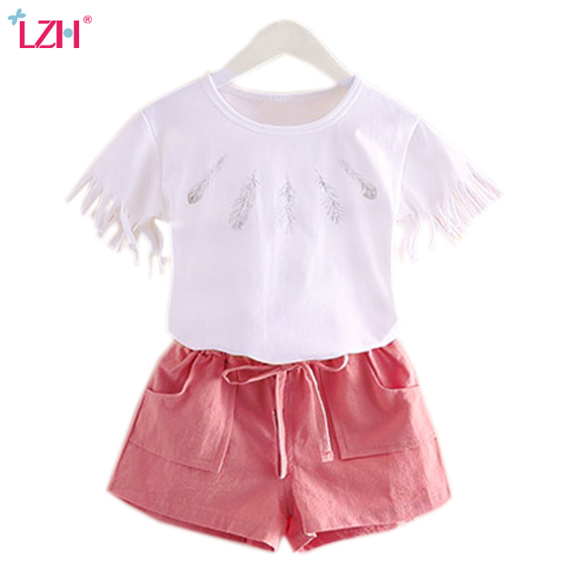 LZH Children Clothing 2018 Summer Baby Girls Clothes T-shirt+Short 2pcs Outfit Kids Clothes Girl Sport Suit Toddler Clothing Set newborn toddler girls summer t shirt skirt clothing set kids baby girl denim tops shirt tutu skirts party 3pcs outfits set