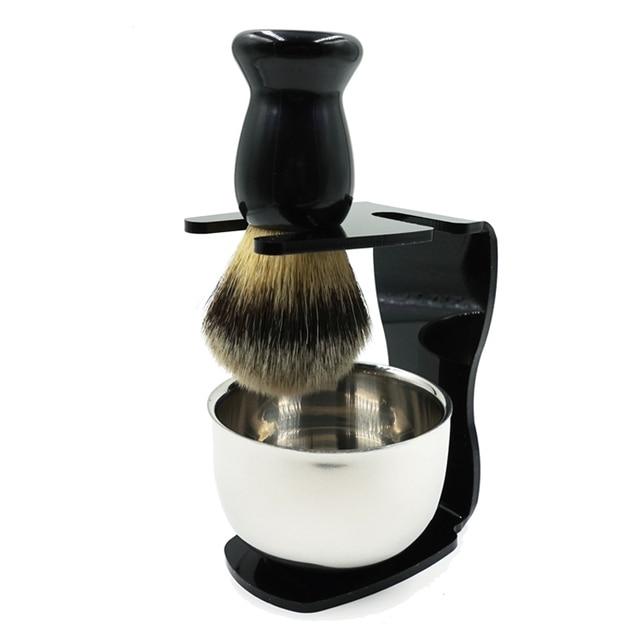 New Badger Bristle Shaving Brush + Arcylic Brush Holder + Bowl + Shaving Soap Shaving Set -27