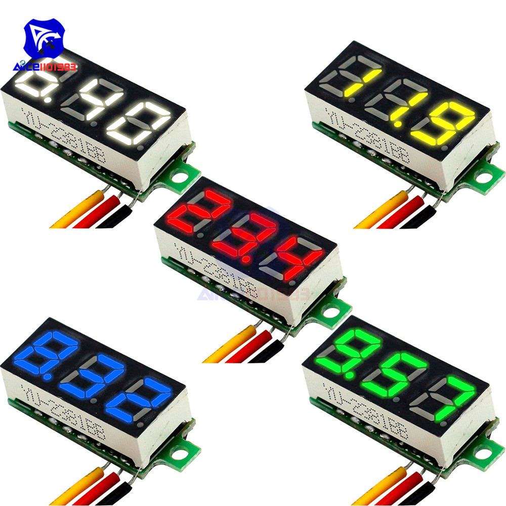 <font><b>5</b></font> Color Available Mini LED Digital Voltmeter <font><b>DC</b></font> 4-30V <font><b>0</b></font>.28 Inch 3 Wire <font><b>DC</b></font> <font><b>0</b></font>-100V Volt Voltage Meter Gauge Tester LED Display image