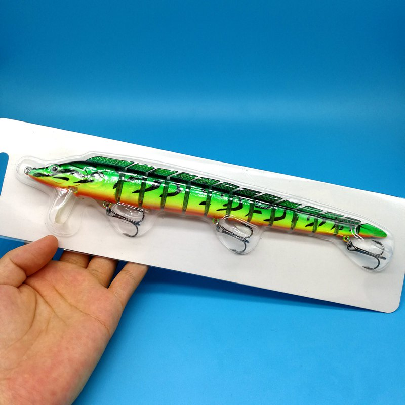 HOOFISH 1 шт. 13 сегментов рыболовная приманка 46 г/22,5 см 3 цвета пластик искусственный рыболовный воблер инструменты с 3X усиленными крючками - Цвет: 1pcs  green
