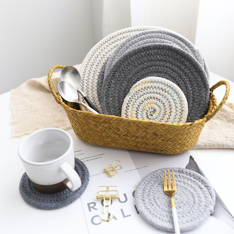 Northern Europe Home Tablemat Circle Dishes Thickening Heat Insulation Cotton And Linen Restaurant Wedding Table Napkins 5 Pack