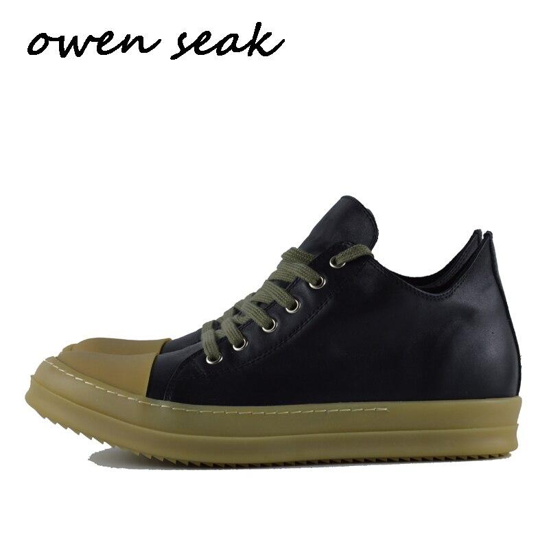 Ayakk.'ten Erkek Rahat Ayakkabılar'de Owen Seak Erkekler rahat ayakkabılar Lüks Eğitmenler Hakiki Deri Lace Up Bahar Erkekler Flats Siyah Ayakkabı Büyük Boy loafer ayakkabılar'da  Grup 1