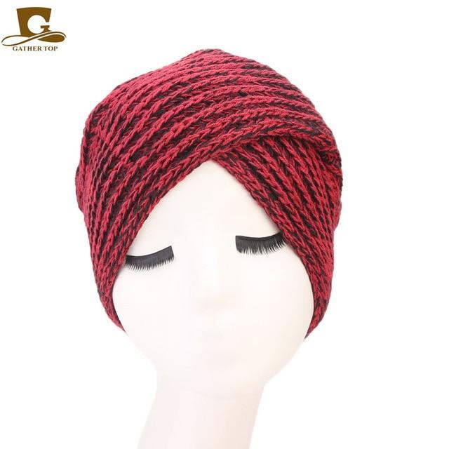 Neue Mode Frauen Hijab Turban Hut Weiche Gestrickte Stirnband Beanie ...