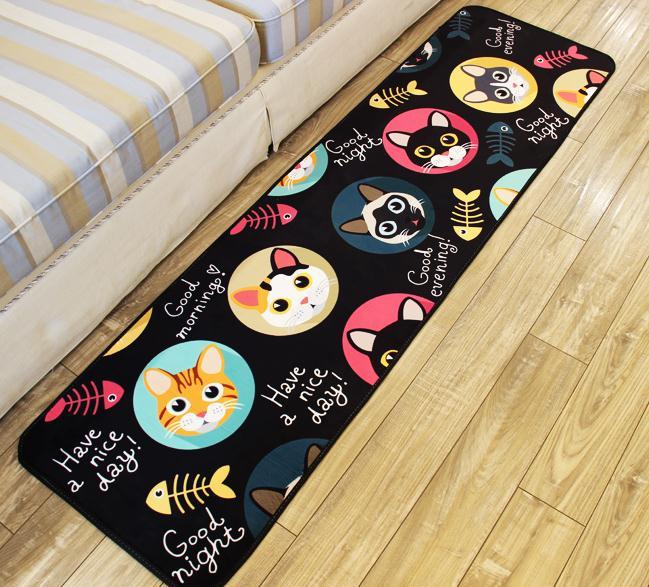 PAYSOTA Cat And Fish Kitchen Mat Strip Room Carpet Window