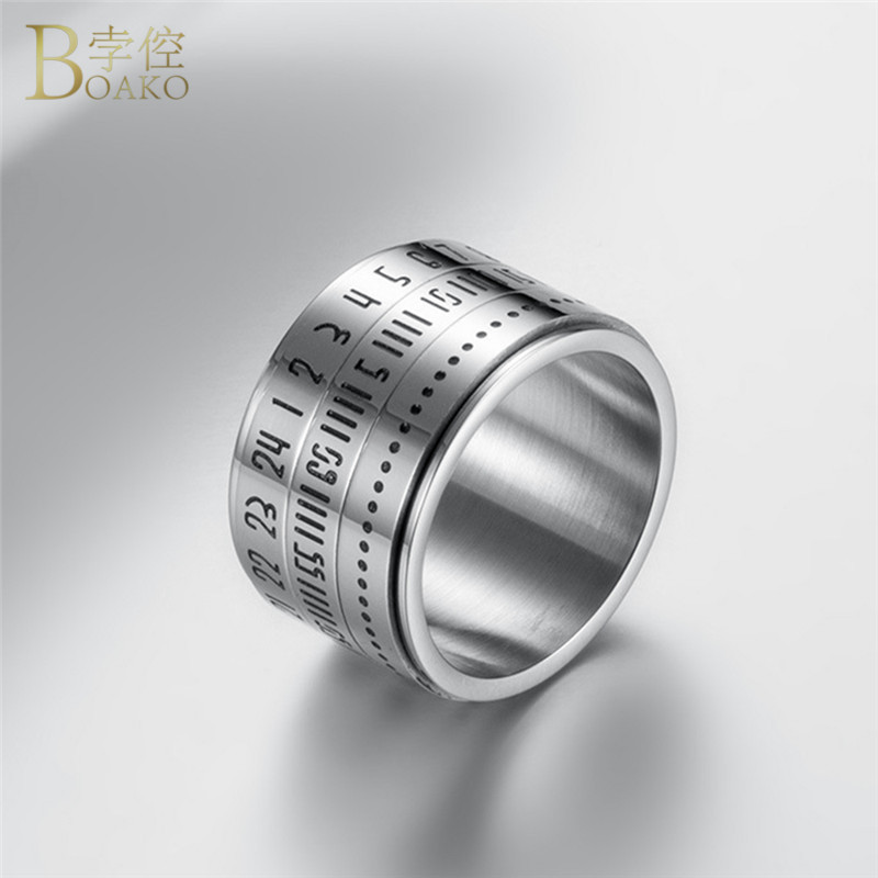 BOAKO Stainless Steel Rings For Men Jewelry Rotatable 3 Part Roman Numerals Ring Punk Spinner Ring Band With Date Time Calendar image