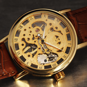 Image 4 - カジュアル新ファッション Sewor ブランドスケルトン男性男性軍の軍隊時計古典的な高級ゴールド機械式ハンド風腕時計ギフト