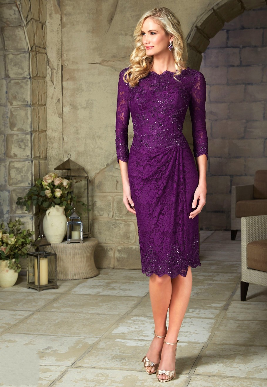 Free Shipping 2017 Elegant Purple Short Mother Of The Bride Lace Dresses Knee Length With Three Quarter Evening Dress In