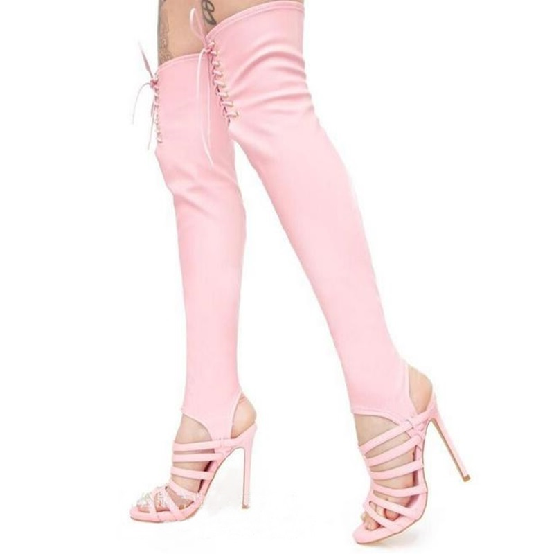 2019 Runway Stretch Fabric Sock Boots Pink Cutouts Over-the-knee Sandals Boots Peep Toe Lace Up Slingback High Heels Summer Hot2019 Runway Stretch Fabric Sock Boots Pink Cutouts Over-the-knee Sandals Boots Peep Toe Lace Up Slingback High Heels Summer Hot