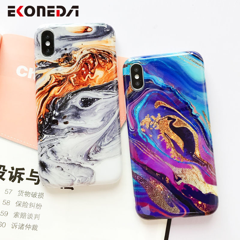 EKONEDA Soft IMD Case For iPhone X Case Marble Phone Cases For iPhone 7 Case Silicone Cover For iPhone 6S 7 8 Plus XS Max XR-in Fitted Cases from Cellphones & Telecommunications