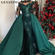 0c1901886e8778 Emerald Green Lange Mouwen Mermaid Avondjurk met Afneembare Rok Arabisch  Kaftan Dubai Prom Jurken 2019 Elegante Formele Gown