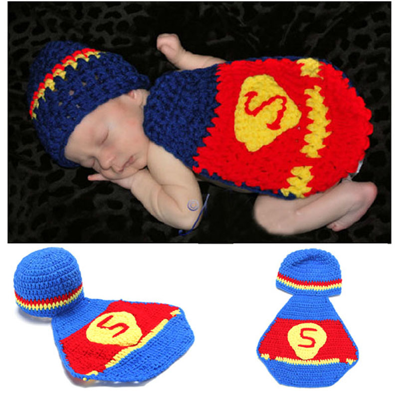 Newborn Crochet Superman Design Costume Set Baby Photography Props Hat&Cover Hand Knitted Baby Beanie Hat 1set H036