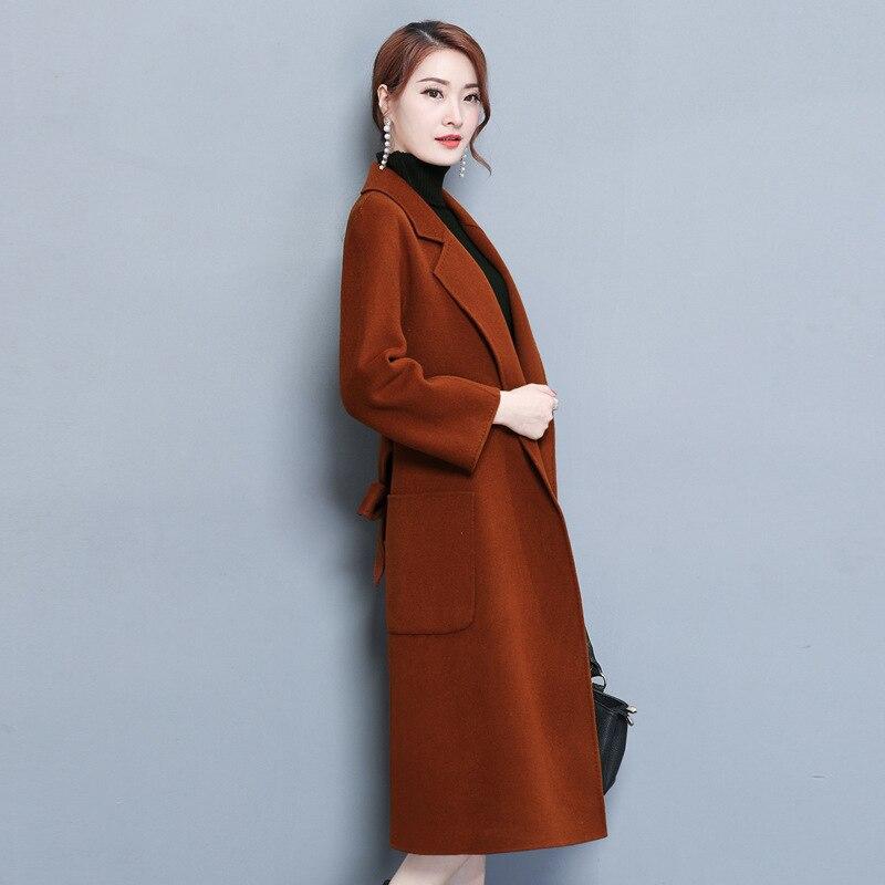 Invernali Giacca a Elegante Brown Signore E Lana Cappotti Delle Fiocchi Di Cappotto camel Wide Fasce Vita wXdqvPP
