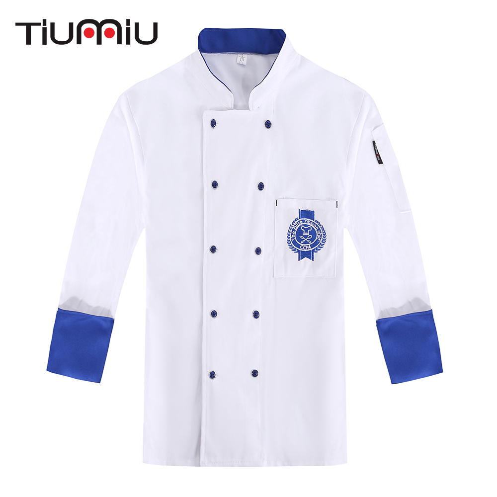 Double Breasted Embroidered Badge Chef Jacket Wholesale Food Service Outfit Cafe Bakery Waiter Work Uniform Cooking Coat Clothes