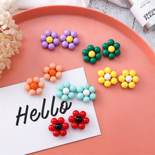 MENGJIQIAO New Korean Summer Flowers Acrylic Stud Earrings For Women Children Elegant Cute pendientes mujer Jewelry Accessories(China)
