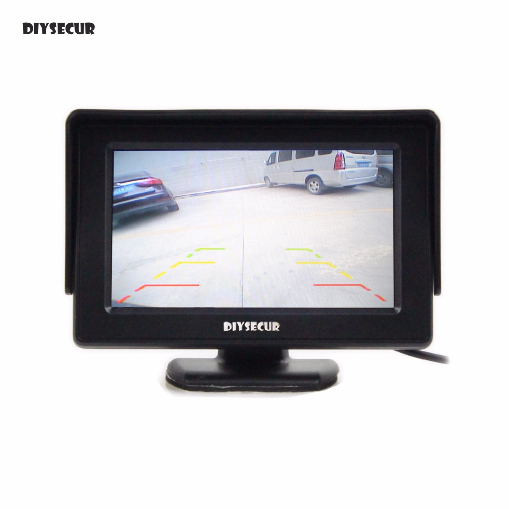DIYSECUR 4.3 Inch Color TFT LCD Car Rear View Monitor Parking Rearview Monitor with 2CH Video Input