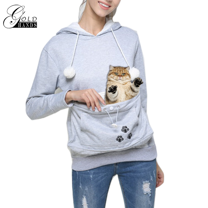 Gold Hands Kangaroo Pocket Sweatshirts Women Hooded With Cat Ear Pullovers Carry Pet Keep Warm For Little Cat And Dog