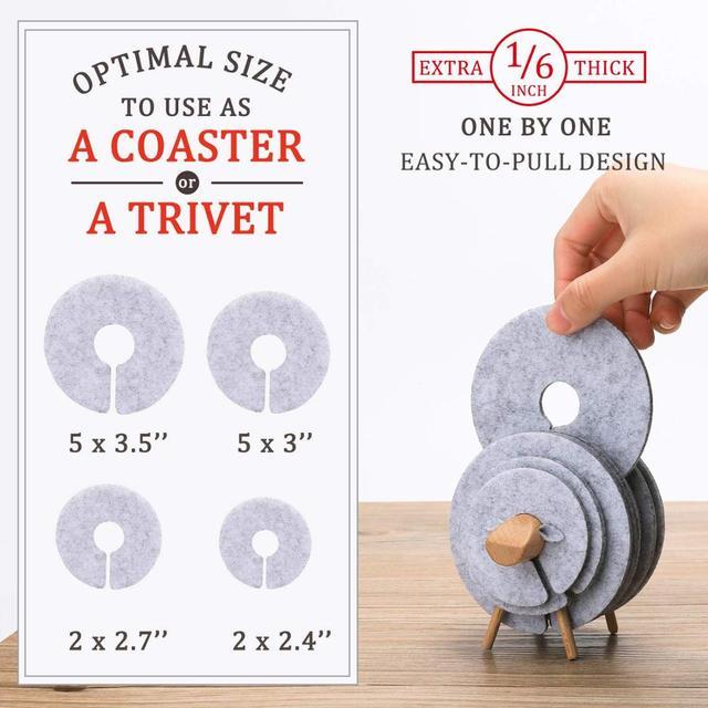 Sheep Shaped Anti Slip Drink Coasters Set, 14 Pcs