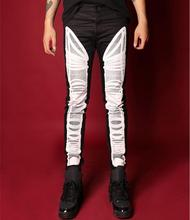 New slim Printed black and white jeans Men male singers dancer stage pant trousers costumes S